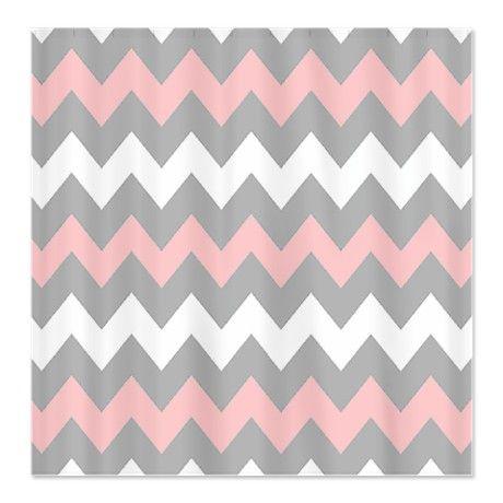 Curtains Ideas chevron stripe shower curtain : Pink And Gray Chevron Stripes Shower Curtain | For the Home ...