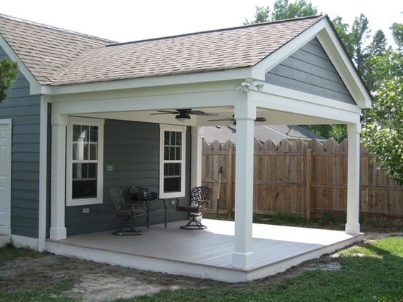 Adding patio to house adding a porch to a ranch style for Ideas for covered back porch on single story ranch