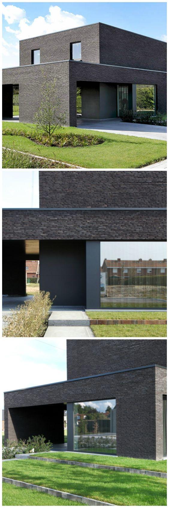 Nieuwbouw • modern • donkere gevelsteen • plat dak • Foto: www.huyzentruyt.be