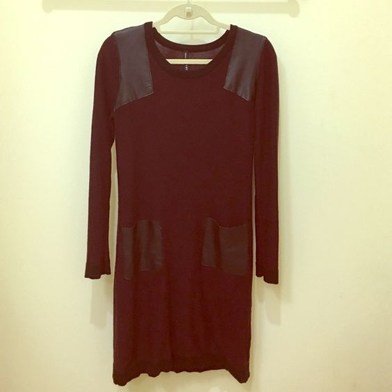 Sweater Dress Size Small Burgundy and Black striped sweater dress with black leather detailing on the shoulder and pockets. Size Small Dresses Midi
