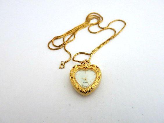 Heart Shape Watch Pendant Necklace Gold Tone Reversable by ediesbest on Etsy