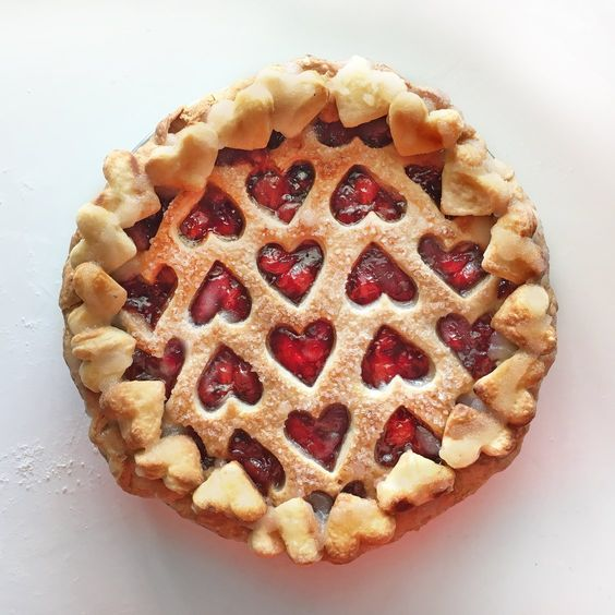 We heart U lattice pie crust.