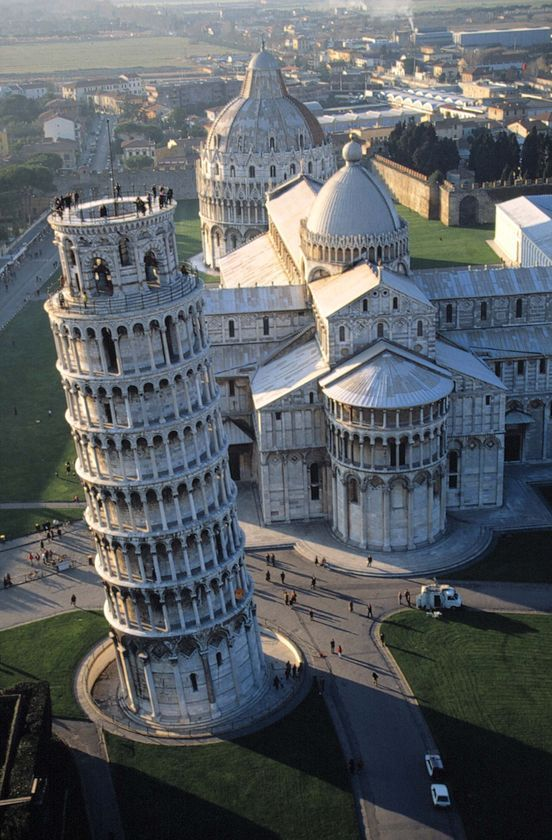 The Leaning Tower, the Cathedral, and the Baptistry, Pisa, Italy.