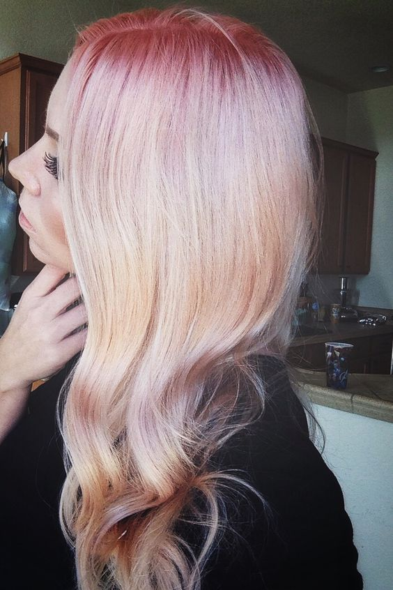 Pink Hair Pink Roots Color Melt Into Nude Blonde Color