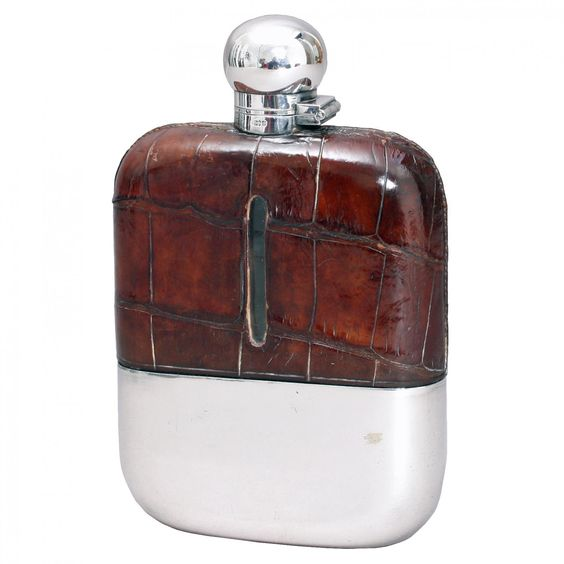 Crocodile skin Hipflask | Looking For Antiques