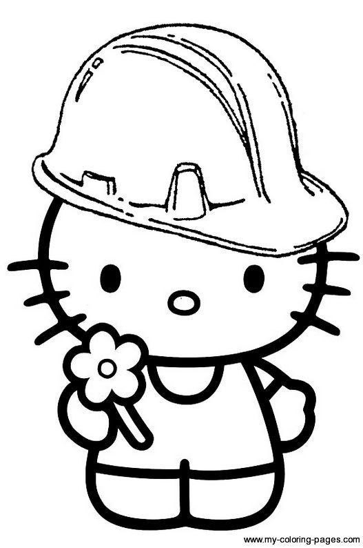 Construction Hello Kitty Hard Hat Hello Kitty Colouring Pages