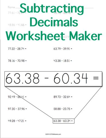 math worksheet : decimals worksheets decimal and worksheets on pinterest : Horizontal Subtraction Worksheets
