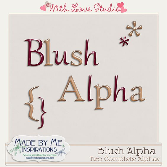 Blush - Alpha  from Made By Me Inspiration perfect for digital or hybrid  scrapbooking, These fun alphas can be used in lots of fun creative projects.