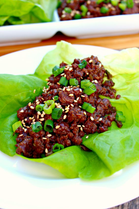 Korean Beef Lettuce Wrap - sugar, soy sauce, sesame oil, garlic, ginger, green onions, rice vinegar