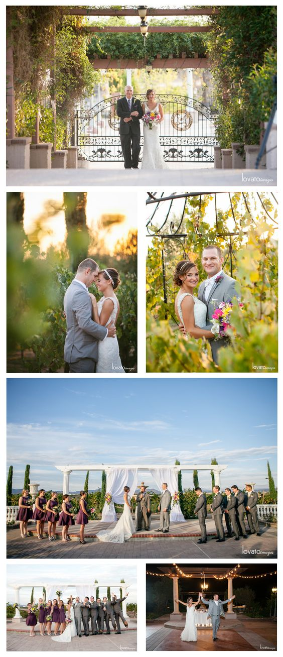 A photo collage of a beautiful Fall vineyard wedding at Mount Palomar Winery in Temecula. The lush grapevines are at their peak in the Fall, making it the perfect time for a winery wedding in Southern California Wine Country.