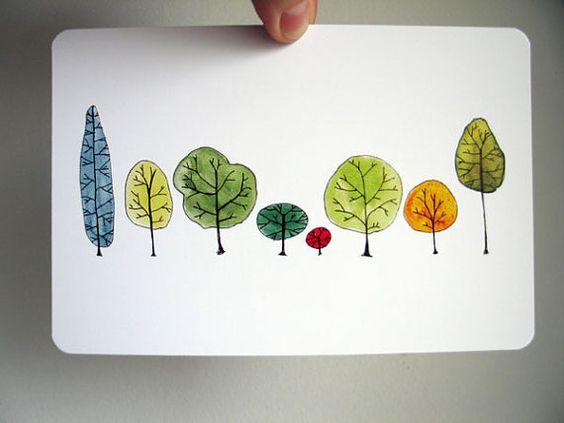 Fila de árboles de arte postal de Acuarela por courtneyoquist