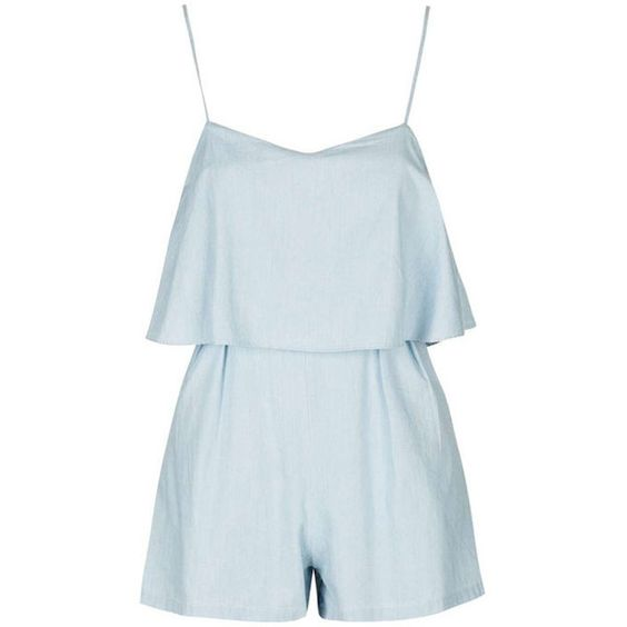 Yoins Blue Sleeveless Playsuit with Layered Detail found on Polyvore featuring jumpsuits, rompers, dresses, playsuit, yoins, jumpers, blue, blue romper, blue rompers and playsuit romper