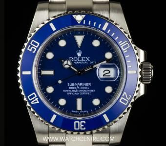 Rolex 18k White Gold Blue Ceramic Bezel Submariner Box & Papers 116619LB…