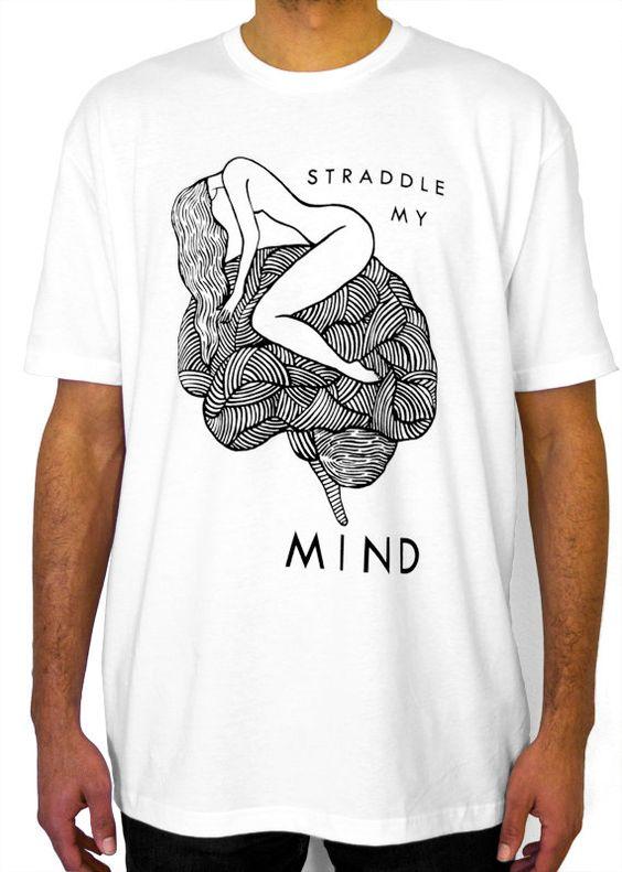 Men's Tshirt - White - Custom Printed Hand Drawn Original Design Girl Straddling Brain Art T-Shirt on Etsy, $20.00