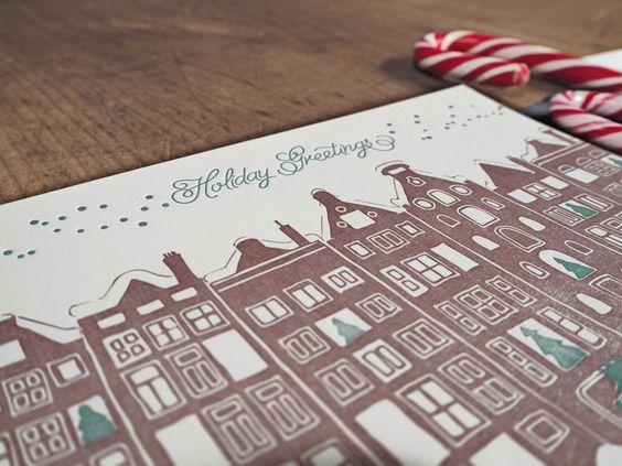 Letterpress Weihnachtskarte mit verschneiter Stadt von #CarissimoLetterpress  Designed, handprinted & manufactured in Vienna.  #LovePaper #PaperandInkLovestory