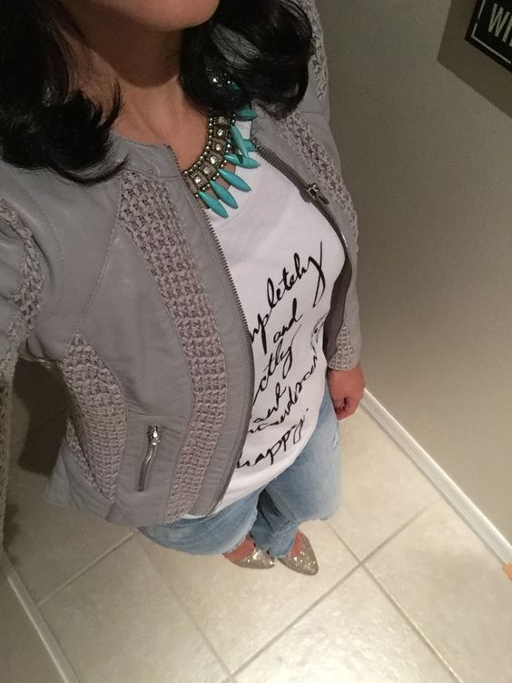 Gray leather jacket with jeans !!!  Night basic outfit .
