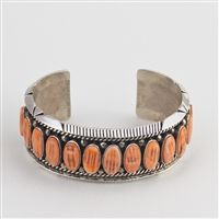 Orange Spiny Oyster and Sterling Bracelet by Navajo artist Maryanne Spencer.   $330.00 http://www.oldtownjewels.com/Maryanne-Spencer-Spiny-Oyster-Sterling-Bracelet-p/b.h.ms.sp.101.htm