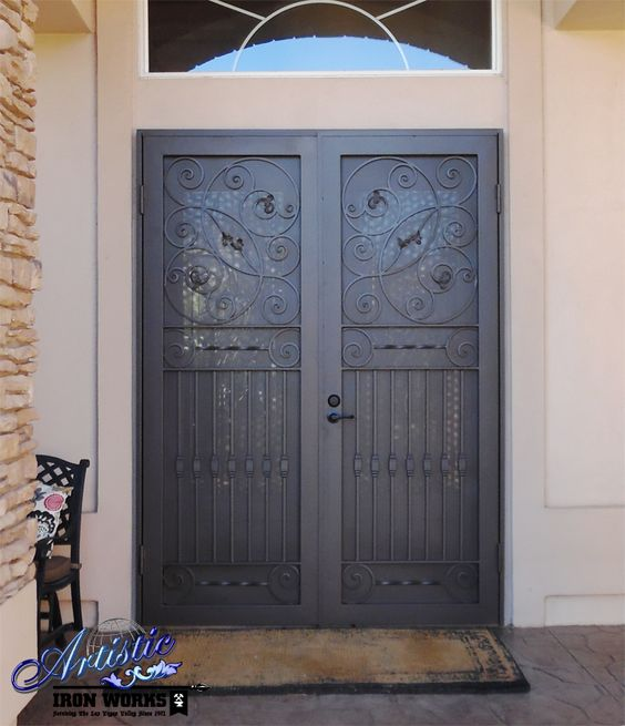 Security screen double doors and wrought iron on pinterest for Double screen doors