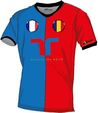 Frankreich - Rumänien l France - Romania kurzarm Trikot mit Wunschnamen und Wunschnummer