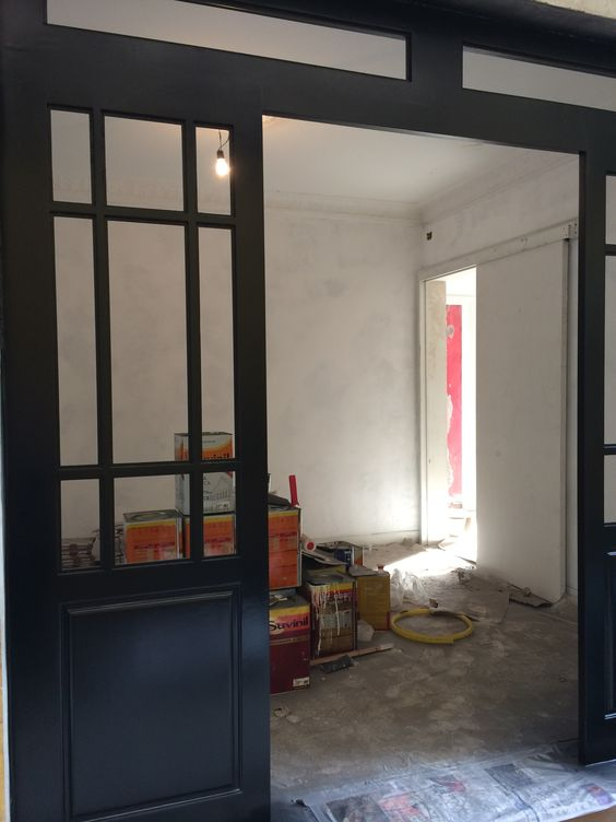 Portas / pintura PU / laca preta semi brilho