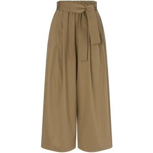 Tome Khaki Cotton Wide Leg Trousers