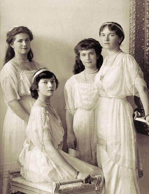 Grand Duchesses Olga, Tatiana, Maria and Anastasia Romanov four years before their execution alongside their family on July 17, 1918. The last to die were Tatiana, Olga, and Maria, who were carrying several pounds of diamonds within their clothing, thus protecting them initially.: