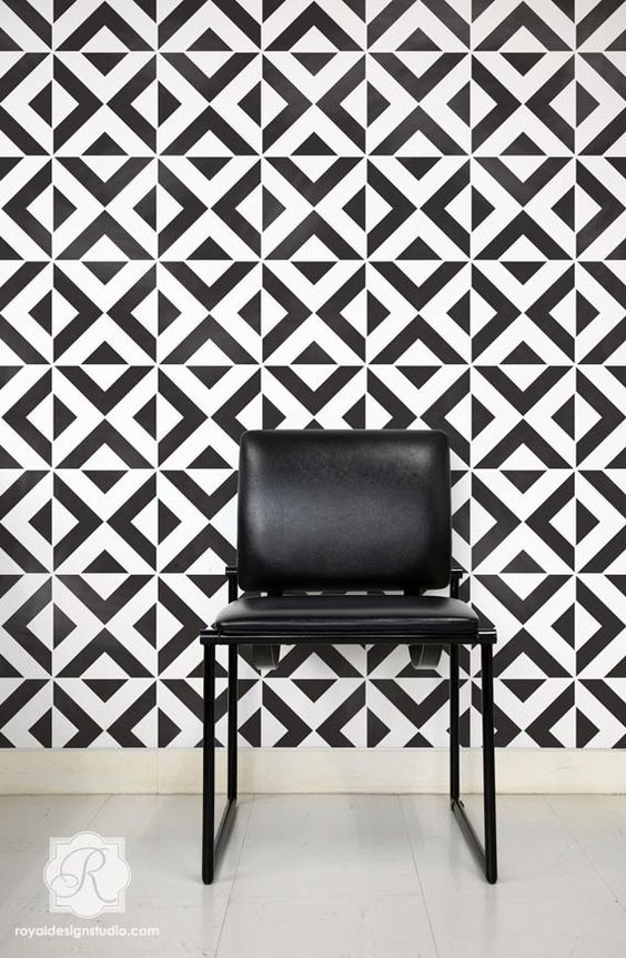Moroccan Wall Stencil Large All The Angles by royaldesignstencils