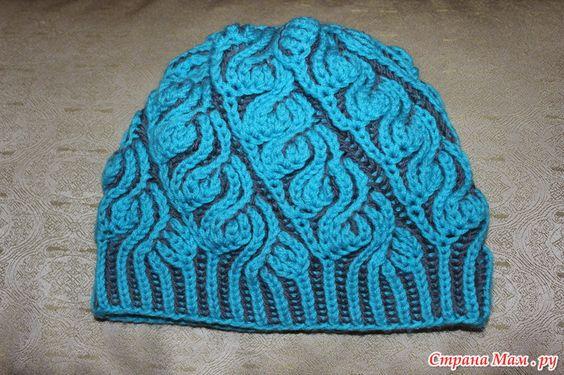 Моя шапочка в  технике Brioche Stitch