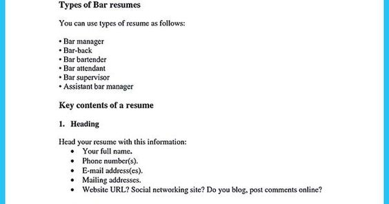 bar tender resume best bartending resume examples this is the