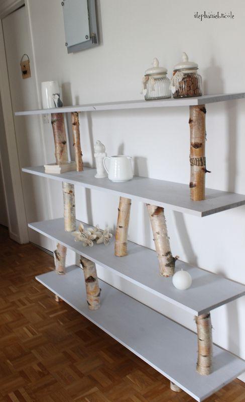 DIY déco bouleau - Un meuble étagère très nature | Meuble étagère ...