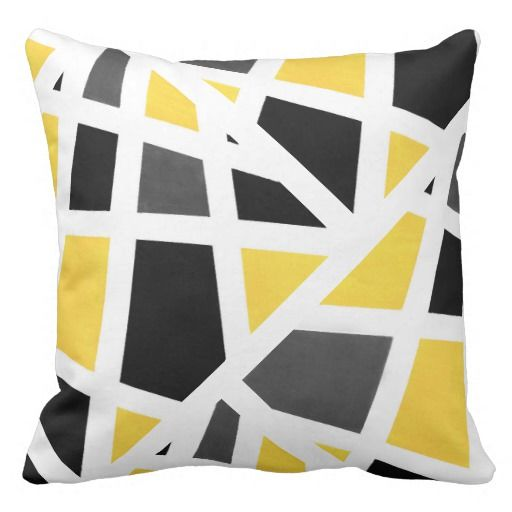 Yellow Gray Black White Geometric Abstract Throw Pillow Zazzle Com Yellow Living Room Living Room Decor Gray Black And White Pillows