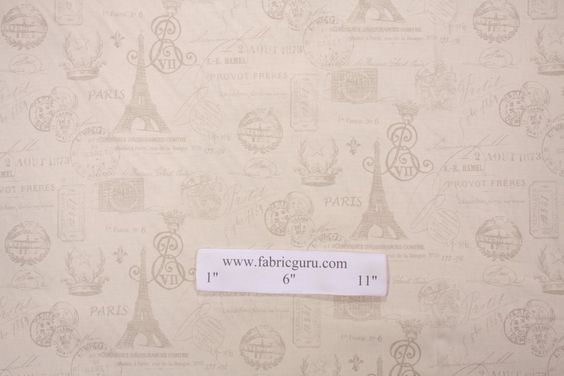 Premier French Stamp Printed Cotton Drapery Fabric in Onyx Grey/Natural CLOSEOUT