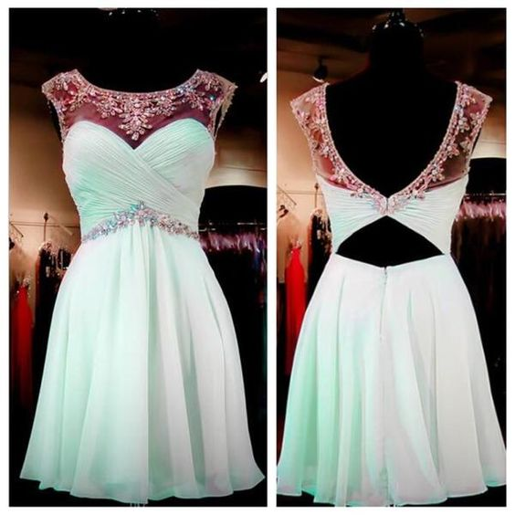 Mint Green Beaded Homecoming Dresses, Open back Prom Dresses, Sexy Backless…