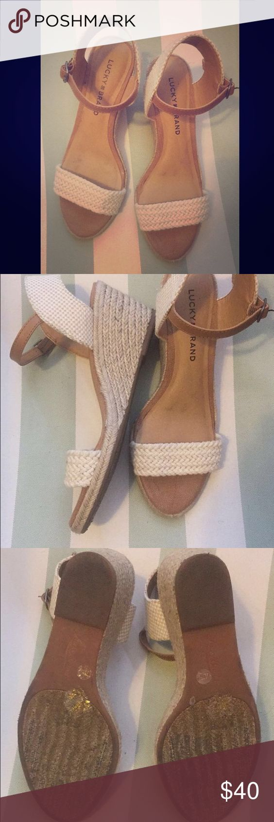 Lucky Brand Wedges Used but great condition!! Look great with everything an they are not too tall! Lucky Brand Shoes Wedges