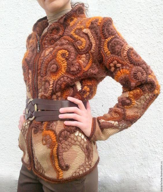 Купить вязаный крючком жакет в стиле фриформ - комбинированный, абстрактный, фриформ вязание, Вязание крючком