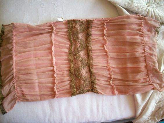Rose pink 1910 to 20s boudoir pillow case with by TextileArtLace, $148.00