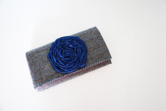 Grey Wool Trifold Clutch Wallet with Navy by Singsthesparrow, $42.00