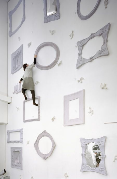 climbing wall at Omotesando fitness club in Tokyo, by Nendo