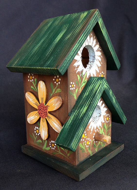 COMING UP DAISIES Mini Birdhouse original by KrugsStudio on Etsy ...