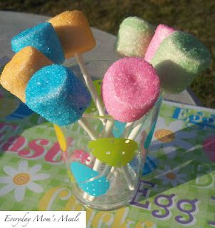 "Homemade ""Peeps""  Large marshmallows, strawberry flavored  Candy sticks  Pastel colored sprinkles (found in the baking aisle)  Water  Piece of floral foam or Styrofoam    Place sticks in marshmallows, to make ""pops"". Dip each in water to dampen. Dab lightly on a paper towel to remove excess. Roll each in sprinkles, covering evenly. Place sticks in floral foam, standing upright to dry. When dry, place in a cup for easy enjoyment!"