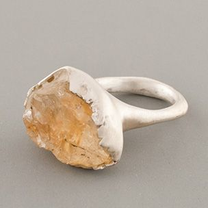 Sterling silver and rough, chunky citrine