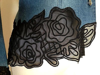 Basix Ii Denim Black Lace Trim Avant Garde Art Deco Blazer Jacket Sz 4 S/m Euc