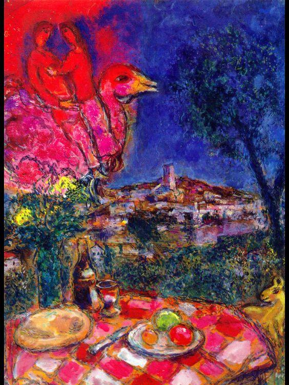 Laid Table with View of Saint-Paul de Vence  - Marc Chagall    - 1968   - Place of Creation: Saint-paul-de-vence, France      Completion Date: 1968    Place of Creation: Saint-paul-de-vence, France ..........#GT