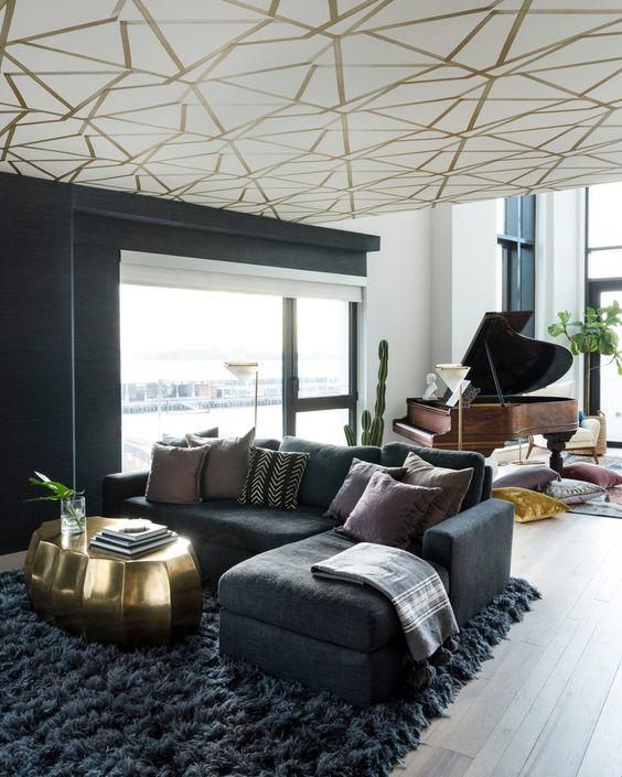 glamorous, dramatic living area