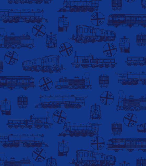 Novelty Quilt Fabric-Blue Train Toile