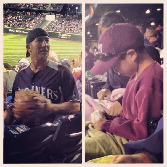 """Great photo story from last night's @Seattle Mariners game via @Elaine Smith """"I love baseball!!! Fan on left caught foul ball and looked around to find a young fan to share it with. Little guy on right was lucky benefactor."""""""