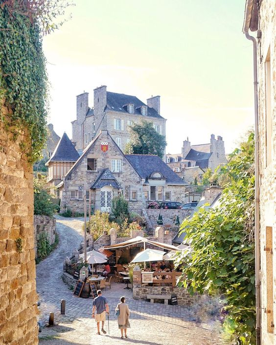 medieval town of dinan. Dinan is a fortified town in the Brittany region of France