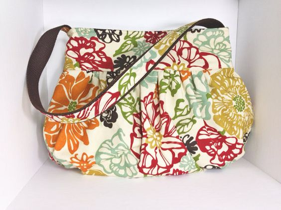 Gorgeous bag.. simple yet classy  Gathered Bag/purse Small  Bibi Fiesta Fabric by MaDonz on Etsy