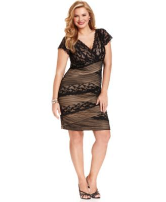Marina Plus Size Dress, Cap-Sleeve Beaded Lace