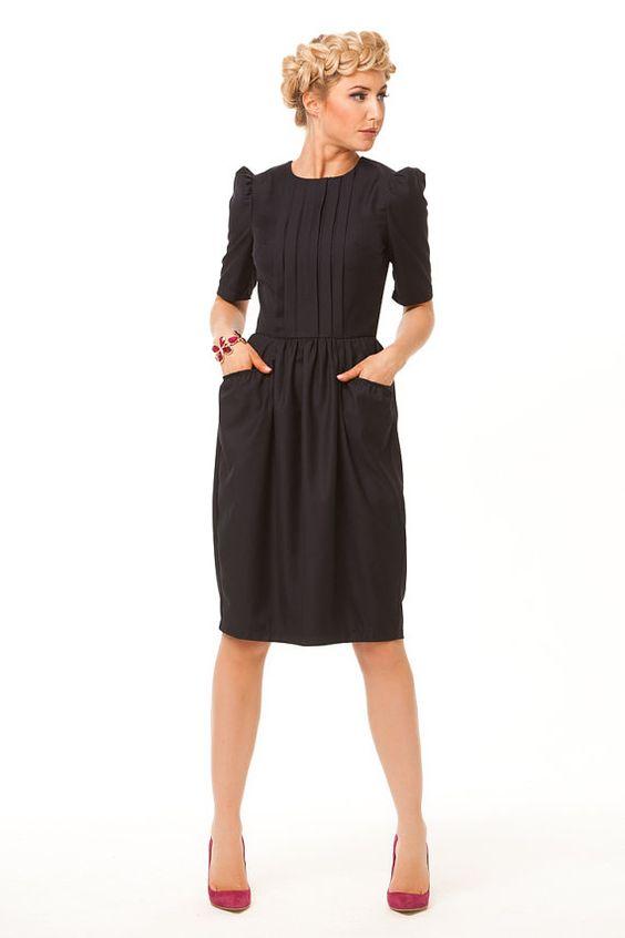 Little Black Dress-Simple Elegant Dress Knee Length with pockets ...